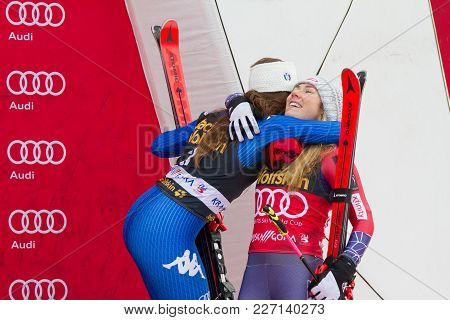 Mikaela Shiffin And Sofia Goggia At Fis Ski World Cup Giant Slalom In Kranjska Gora On The 6th Of Ja