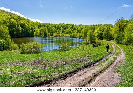Landscape With Lake Among The Forest. Countryside Road Down The Hill. Photographer Observes Beautifu