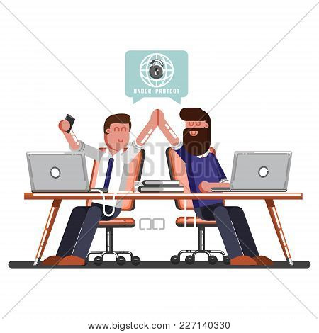Two Man Celebrate That Work Done Successful. Vector Illustration, Eps 10