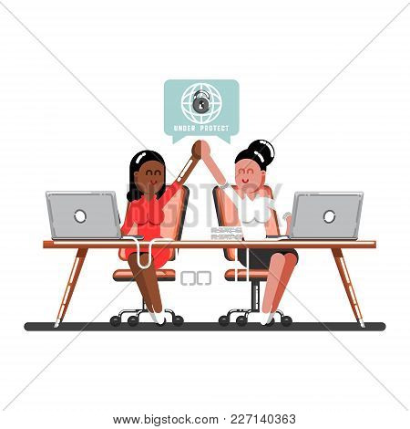 Two Woman Celebrate That Work Done Successful. Vector Illustration, Eps 10