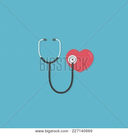 Health Care And Medicine Concept. Flat Design Of Red Heart And Stethoscope. Medical Tool For Diagnos