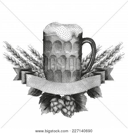 Graphic Pint Of Beer Decorated With Ribbon, Malts And Hops. Vector Alcoholic Beverage Drawn In Stipp