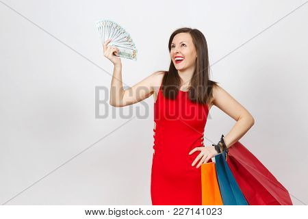 Attractive Glamour Fashionable Young Brown-hair Woman In Red Dress Holding Cash Dollars, Multi Color