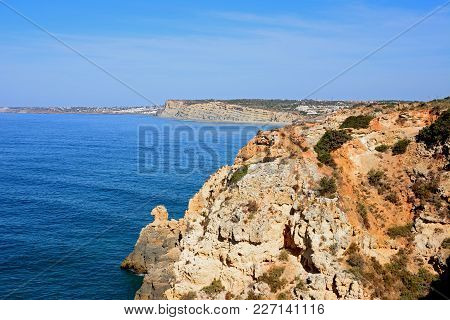 Elevated View Of The Rugged Coastline And Cliffs, Ponta Da Piedade, Algarve, Portugal, Europe.