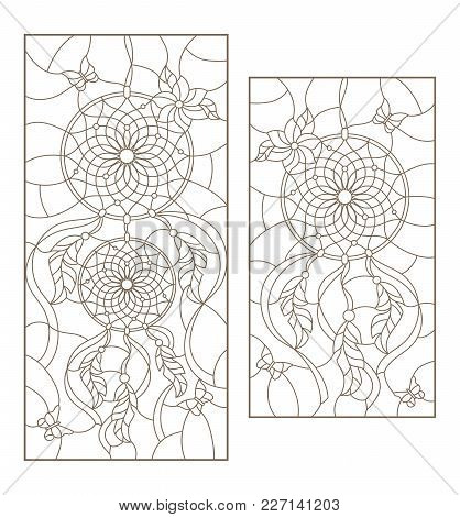 Set Of Outline Illustrations Of Stained Glass Windows With Dream Catchers And Butterflies, Dark Outl