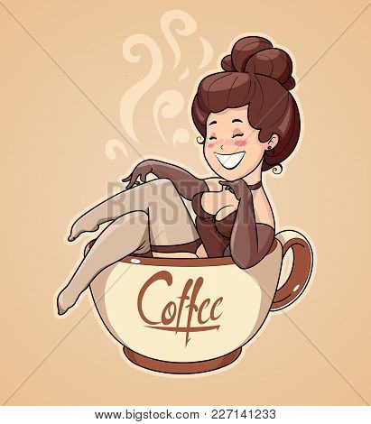 Beautiful Girl Sit In Coffee Cup. Pin-up Character For Cafe. Cartoon Woman Invite To Breakfast Drink