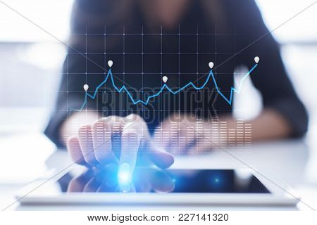 Diagrams And Graphs On Virtual Screen. Business Strategy, Data Analysis Technology And Financial Gro