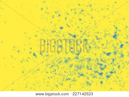 Yellow Background And Blue Dotted Overlay Vintage Pattern. Vector Illustration