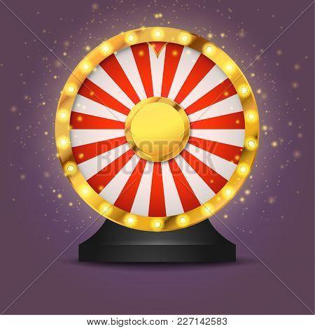 Realistic Lottery Fortune Wheel Isolated Over Dark Background. Golden Metallic Wheel Of Luck. Casino