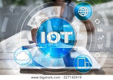 Iot. Internet Of Thing Concept. Multichannel Online Communication Network Digital 4.0 Technology Int