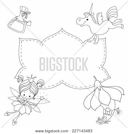 Coloring Book With Space For Text. Fairy, Unicorn, Fairy-tale House. Black Outline On White Backgrou