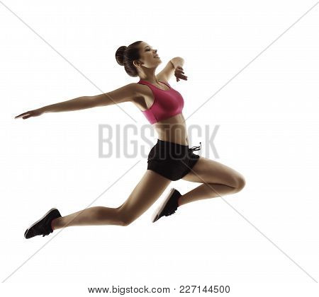Jumping  Sport Woman, Happy Fitness Girl In Jump, Active People Isolated On White Background
