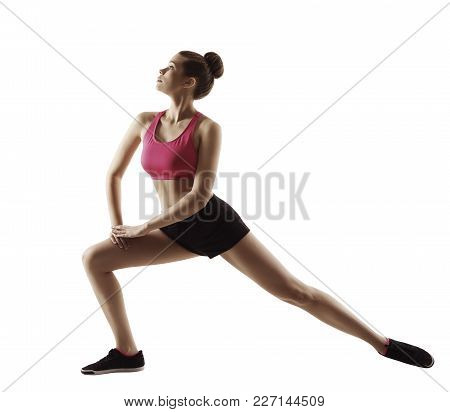 Fitness Woman Stretch Gymnastics Workout, Stretching Legs Sport Exercise, People Isolated On White B