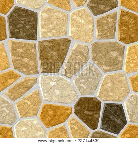 Surface Floor Marble Mosaic Pattern Seamless Background With Gray Grout - Natural Beige Brown Yellow