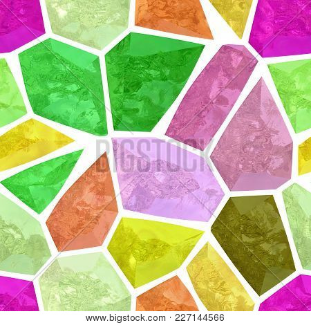 Surface Floor Marble Mosaic Pattern Seamless Background With White Grout - Full Spectrum Color - Hig
