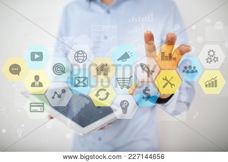 Colored Applications Icons And Graphs On Virtual Screen. Business, Internet And Technology Concept