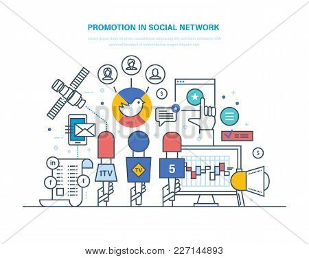 Promotion In Social Network. Digital Marketing, Advertising, Research. Targeted Content Marketing, P