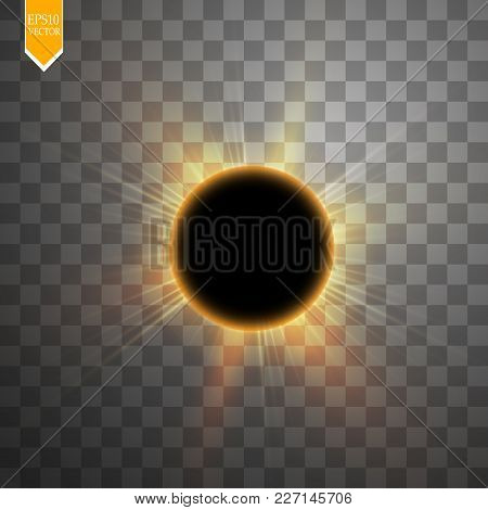 Total Solar Eclipse Vector Illustration On Transparent Background. Full Moon Shadow Sun Eclipse With