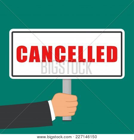 Illustration Of Cancelled Word Sign Flat Concept
