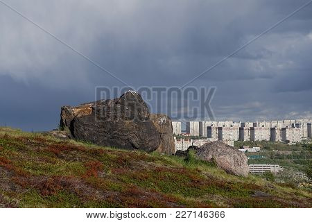 Murmansk, Russia-june 5, 2015: The Urban Landscape Of The Murmansk Soviet Architecture And The Brigh