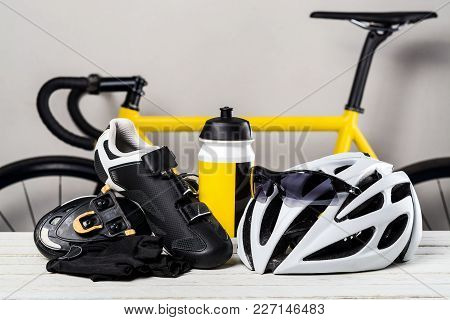 Bicycle, Essential Cycling Item Accessories On Wood Table