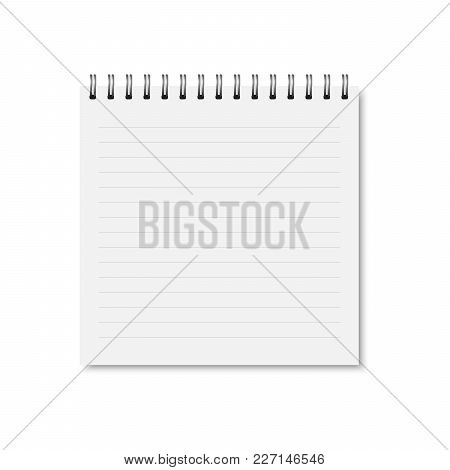 Vector White Realistic Closed Notebook Cover. Square Blank Notebook, Copybook, Brochure, Menu Horizo