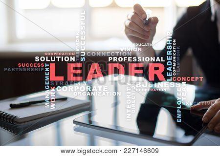 Leader Leadership Teambuilding. Business Concept. Words Cloud