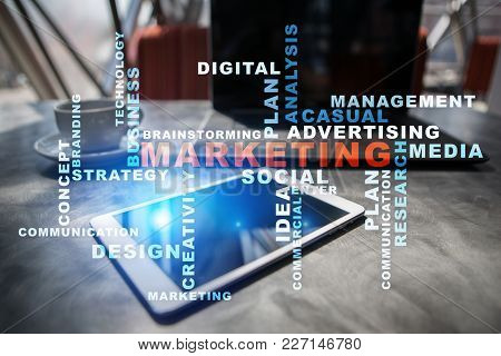 Marketing Business Concept On The Virtual Screen. Words Cloud