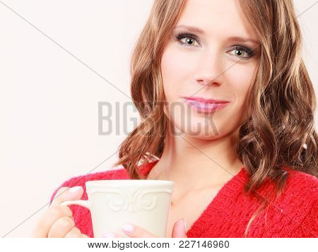 Attractive Fall Girl Long Hair Red Autumnal Sweater Holding White Mug With Coffee Warm Beverage. Wom