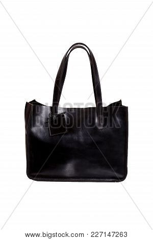 One Luxury Black Bag Isolated On White Background. High Resolution Photo.
