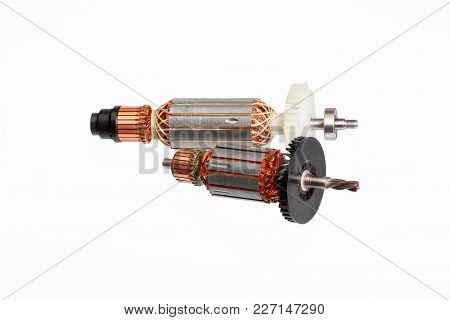 Two Electric Motors Isolated On White Background. High Resolution Photo.