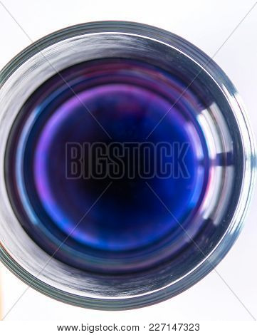 Beaker With Blue Liquid Top View, Background
