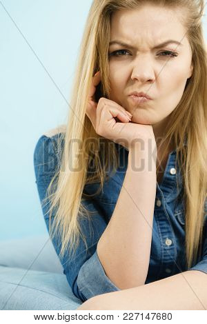 Woman Being Uncertainty Skeptical Questioning Something And Gesturing Having Thinking Face Expressio