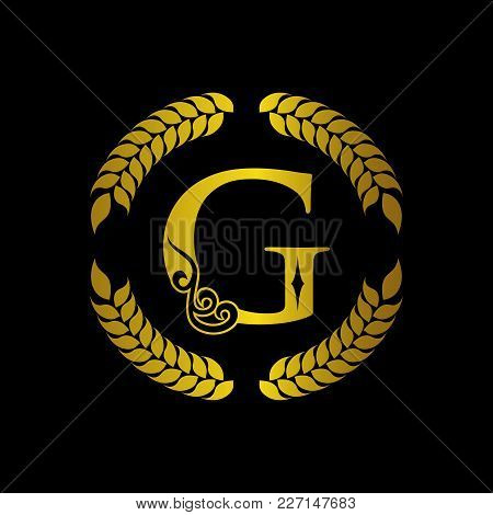 The Monogram A Letter G In An Elegant Frame. G Golden Template For Cafe Bars Boutiques Invitations.