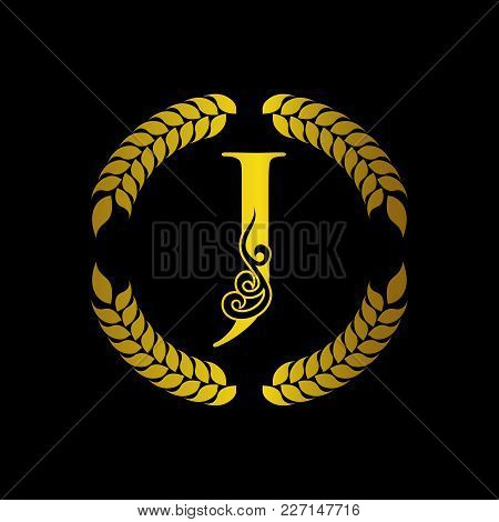 The Monogram A Letter J In An Elegant Frame. J Golden Template For Cafe Bars Boutiques Invitations.