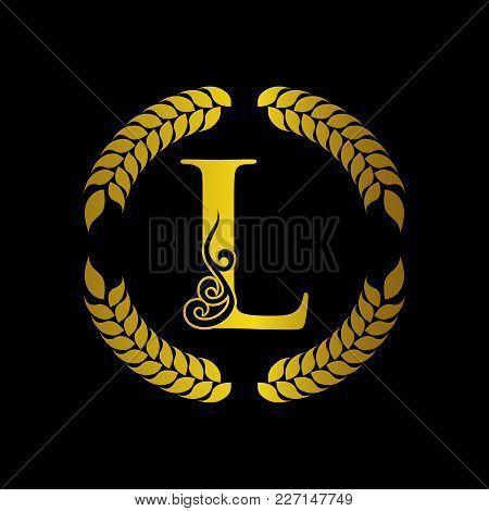 The Monogram A Letter L In An Elegant Frame. L Golden Template For Cafe Bars Boutiques Invitations.
