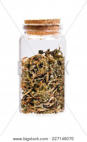 Dry Alfalfa Medicago Sativa In A Bottle With Cork Stopper For Medical Use.