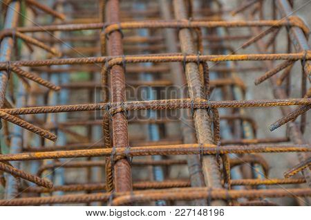 Wire Mesh Of Concrete Pouring. Steel Bars Reinforcement On A Construction Site.