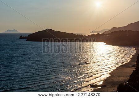 Gaeta Sea Beach Evening Sunset View, Province Of Latina, In Lazio, Central Italy