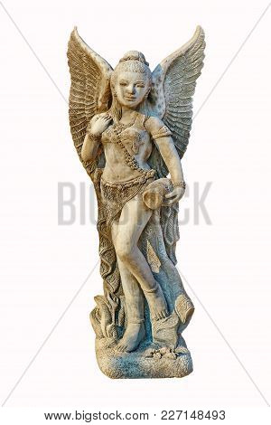 A Beautiful Woman Statue In The Temple / A Beautiful Woman Statue On White Background