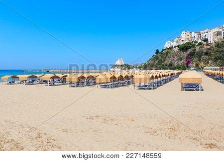 Sperlonga Beach And Torre Truglia View, Province Of Latina, In Lazio, Central Italy. People Unrecogn