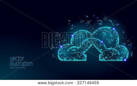 Cloud Computing Online Storage Low Poly. Polygonal Future Modern Internet Business Technology. Blue