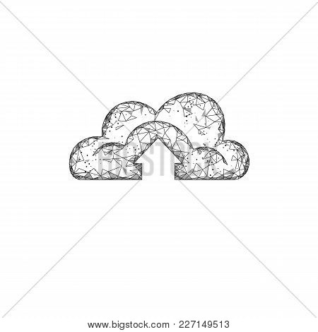 Cloud Computing Online Storage Low Poly. Polygonal Future Modern Internet Business Technology. White
