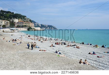 Nice France People Sunbathing On Beach