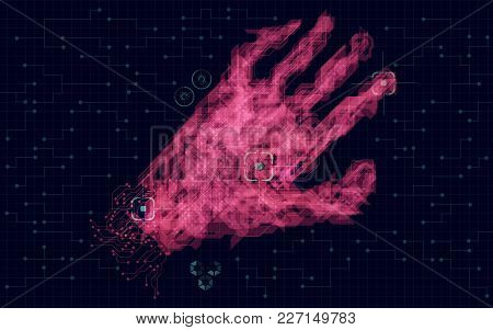 Graphic Of Red Abstract Technological Hand Reaching