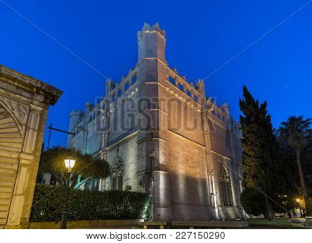 Palma De Mallorca Lonja Night Lighting. Majorca Gothic Architecture. Market Of The Gothic Civil. Bal