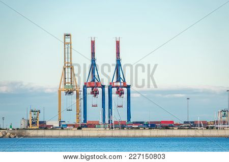 Cargo Cranes Port Skyline Ready To Load Containers On Ships Transport And Logistics, Export, Merchan