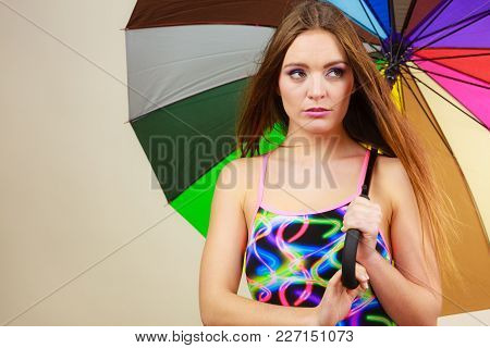Fashion, Great Outfits For Summer Concept. Shy Charming Woman With Long Brown Hair Posing In Swimsui