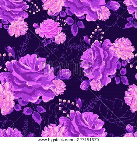 Beautiful Seamless Pattern With Violet Roses On A Dark Background. Purple Vector Illustration.modern