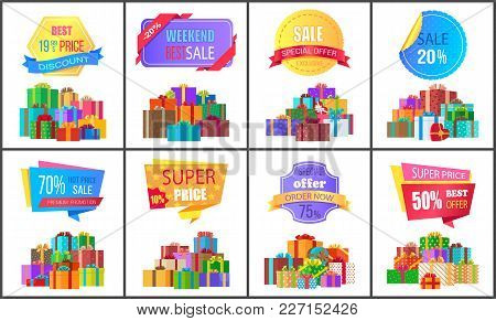 Set Of Special Price Exclusive Discount Posters Vector Illustration With Promotion Cards With Colorf